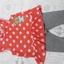 Conjunto de Batinha Carter´s  laranja com bolas brancas e macaquinha - 3 a 6 meses - Carter`s