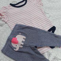 Kit com body rosa  e calcinha azul marinho com um elefantinho rosa no bumbum - Recém Nascido - Carter`s e Circo