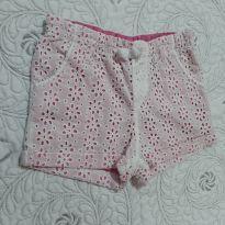 Shortinho em lese branca forrado de rosa - 2 anos - Cherokee