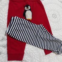 Calças Legs, 1 vermelha com pinguim no bumbum e outra branca e azul marinho list - 9 meses - Carter`s e Circo