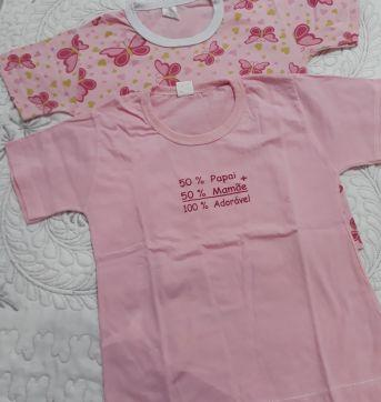 Kit com 2 camisetas rosas manga curta - 24 a 36 meses - nenhuma