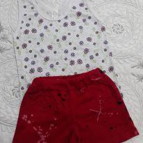Kit com camiseta regata e short vermelho - 3 meses - nenhuma