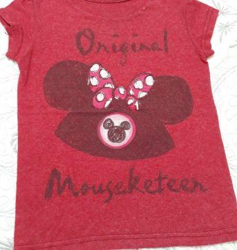 Camiseta com o simbolo da minie estampada na cor vinho - 24 a 36 meses - Disney baby