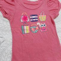 Camiseta rosa com estampa de bolsinhas na frente - 2 anos - Cherokee