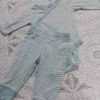 Conjunto calça e body listrado azul com manga - 3 meses - Carter`s