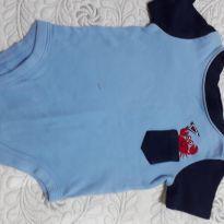 Body com carangueijinho saindo do bolso, azul claro com mangas curtas em azul ma - 0 a 3 meses - Garanimals