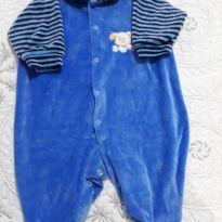 Macacão de plush azul claro com cachorrinho bordado - 6 a 9 meses - Creep Baby