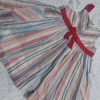 Vestido de alcinha listrado com bolsos laterais com cores pasteis azul, cinza ro - 18 meses - OshKosh