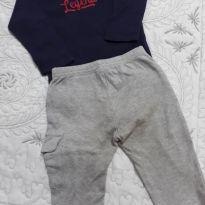 Conjunto de body de manga longa azul marinho e calça cinza - 6 meses - Onesies