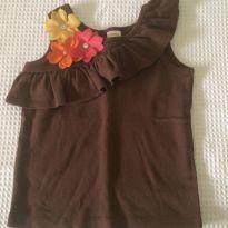Blusa marron com florzinhas - 3 anos - Klin, Ipanema, Gimboree