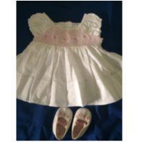 Vestido branco+ sapatinho - 3 a 6 meses - Koala Kids