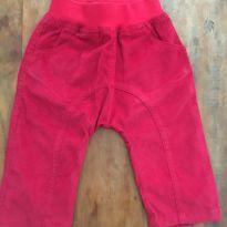 Calça Saruel Veludo Vermelha E - 3 a 6 meses - Chicletaria