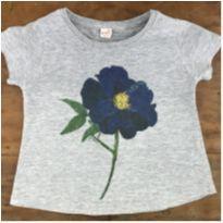 Camiseta Flor Azul C - 4 anos - Green