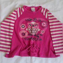 Blusa manga longa pink e branco - 6 anos - Sem marca