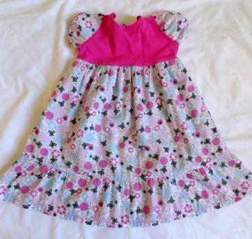 Vestido estampado pink e branco - 3 anos - Sem marca