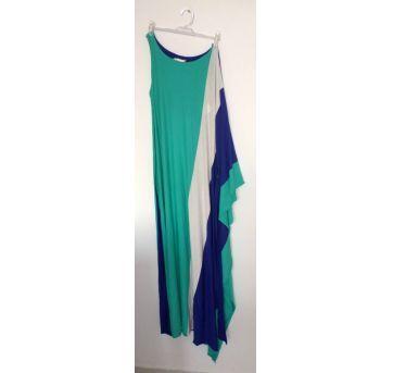 Vestido color block blue longo - M - 40 - 42 - Não informada
