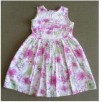 Vestido Estampado Rosa e Branco - 3 anos - Sem marca