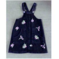 Salopete jeans preto com flores - 6 anos - Zara