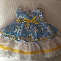 Vestido floral tecido - 6 meses - Importada