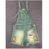 Jardineira Jeans MOMI com apliques Flamingo Tropical - 10 anos - Momi