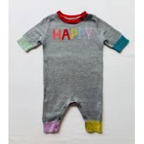 Macacão Bebe Cinza Claro Happy Gap Kids - 0 a 3 meses - GAP