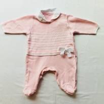 Macacão Rosa com pérolas e laço - 6 a 9 meses - Alô bebê