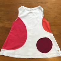 Vestido veludo branco com detalhes em bolas coloridas - 3 a 6 meses - Paola BimBi