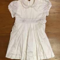 Vestido Branco com detalhe em renda e lanço para amarração - 1 ano - Trousseau