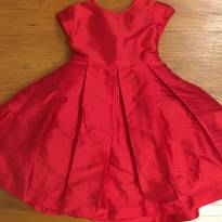Vestido vermelho de festa com forro e armação - 6 a 9 meses - Pinni