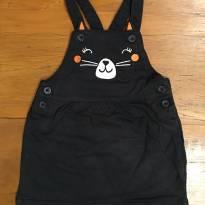 Vestidinho estilo jardineira preto com detalhe cara de gatinho - 1 ano - Carter`s