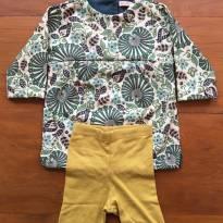 Bata com duas calças (conjunto três peças) - 3 a 6 meses - Green