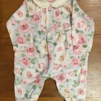Macacão Floral com gola detalhes em pérola - Recém Nascido - Alô bebê
