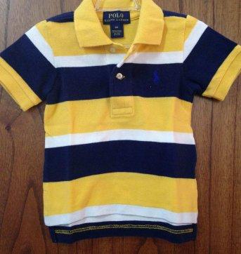 Camiseta polo listrada amarelo azul Ralph Lauren tam 9M 9 meses no ... aaefc7ae1c3c8