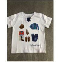 Camiseta branca com gola jeans tam 3 - 3 anos - Alphabeto