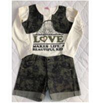 Conjunto de blusa manga longa e short militar tam 12 - 12 anos - Casquinha