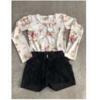 Conjunto de blusa manga longa e short babados tam 10 - 10 anos - Kiki Xodó