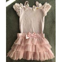 conjunto de saia em tule e blusa canelada de alcinha - 4 anos - Pituchinhus