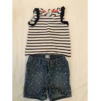 Bermuda Baby GAP + Camiseta Listrada Emma`s Garden - 18 a 24 meses - Baby Gap