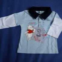 camisa azul com gola marinho com estampa do Ursinho Pooh - 3 meses - Disney baby