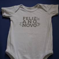 """body branco Feliz Ano Novo """"M"""" - 3 a 6 meses - Piu Piu"""