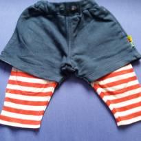short marinho com calçudo listado de vermelho embutido - 3 a 6 meses - PUC