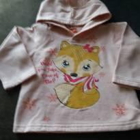 blusa de moletom com capuz rosa e estampa de raposa