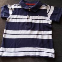 camiseta polo listada de marinho e branco - 1 ano - Tommy Hilfiger