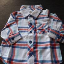 camisa xadrez branca,azul e vermelha - 0 a 3 meses - Old Navy