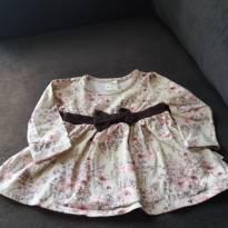vestido beje com estampa de flores e laço marrom na cintura - 6 a 9 meses - Pulla Bulla