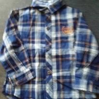 camisa xadrez marinho e cinza - 9 a 12 meses - Não informada
