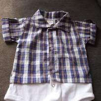body tipo camisa xadrez azul e cinza - 6 a 9 meses - +1bb