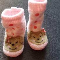 Botinha de lã com solinha anti derrapante Rosa com ursinha - 15 - Não informada