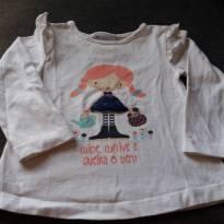 Blusa com estampa de menina -Cuide,cultive e queira o bem - 1 ano - Nini e Bambini