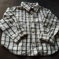 Camisa xadrez beje com marrom manga longa - 18 meses - Arizona Jeans - USA